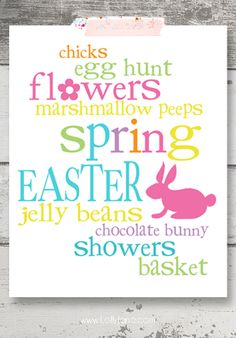 Cute and cheery Easter or Spring subway art. (Free printable!)