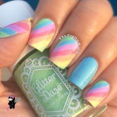 Rainbow Stripes Nail Art Tutorial by The Crafty Ninja using GlitterDaze Nail Polish