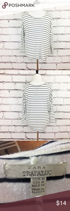 { Zara } Striped Long Sleeve Tee Zara navy and white long sleeve tee. Comfy and casual. Excellent condition! Zara Tops Tees - Long Sleeve
