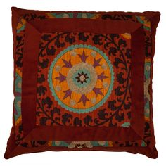 Multicolored pillow with a medallion motif. Product: PillowConstruction Material: Cotton and velourColor: Rust and orange Features: Insert includedMade in the USA Dimensions: x Cleaning and Care: Professional cleaning recommended Dream Furniture, Joss And Main, Home Textile, Decoration, Accent Pillows, Decorative Throw Pillows, Arts And Crafts, Area Rugs, Tapestry
