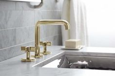 Kallista faucets include bath fillers, diverters, handshowers, bath and bidet faucets. Explore One(TM) Wall-Mount Sink Faucet. Bidet Faucets, Bath Fixtures, Brass Bathroom Faucets, Bathroom Fixtures, Bathroom Trends, Sink Faucets, Widespread Bathroom Faucet, Bathroom Design, Sink