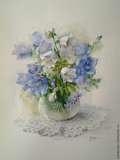 Купить Нежное дыхание лета - голубой, колокольчики, букет цветов, акварель, цветы акварелью, акварель