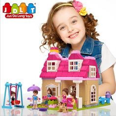 55.00$  Watch now  - Fashion Girl Plastic Building Blocks Of House Large Particles Of Children's Educational Toys Villa