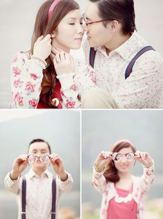 How are cute these for engagement photos?! Love the glasses shot           (greenweddingshoes.com)