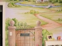 Designer: Mac Murray Designs, Boston, MA A trompe-l'oeil wall mural of a garden gate and winding path, leading up to a fairy tale castle. Inspired by the story of Sleeping Beauty, this pastel castle is perfect for a girl's bedroom. Kids Room Murals, Murals For Kids, Bedroom Murals, Kids Bedroom, Bedroom Wall, Kids Rooms, Princess Mural, Princess Room, Princess Castle