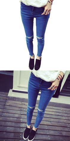 9e08b2155192 Summer style white hole ripped jeans Women jeggings cool denim high waist  pants capris Female skinny black casual jeans