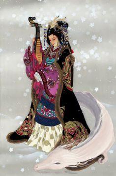 art asiatique divers - Page 8 Japanese Goddess, Japanese Mythology, Japanese Folklore, Japanese Art, Sacred Feminine, Divine Feminine, World Mythology, Art Chinois, Art Asiatique