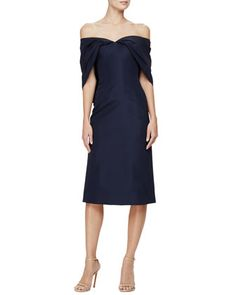 Zac Posen woven sheath cocktail dress. Sweetheart neckline. Pleated half sleeves. Slim silhouette. Straight hem. Silk; dry clean. Made in USA of imported material.