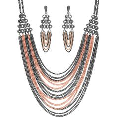 BERRICLE Two-Tone Fringe Fashion Necklace and Earrings Set ($58) ❤ liked on Polyvore featuring jewelry, earrings, earrings and necklace set, sets, women's accessories, fringe jewelry, fringe earrings, chains jewelry, two tone earrings and post earrings