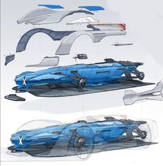Alpine Vision Gran Turismo Concept Assembly Design Sketches by Laurent Negroni
