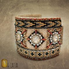 Intricately Beaded Statement Cuff Bracelet Beaded by OhlalaJewelry