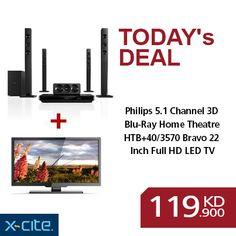 Philips 5.1 Channel 3D Blu-Ray Home Theatre + Bravo 22 Inch Full HD LED TV available for 119.900KD  المسرح المنزلي بتقنية ثلاثي الأبعاد و البلو ري ٥.١ من فيلبس+ تلفزيون عالي الوضوح المتكامل بشاشة ٢٢ بوصة ال اي دي من براف متوفر بسعر 119.900دك  http://www.xcite.com/online-exclusive-deals/home-audio-mp3/philips-5-1-channel-3d-blu-ray-home-theatre-htb3570-40-bravo-22-inch-full-hd-led-tv-ble22c7752.html