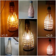 DIY Handmade Bamboo Lantern. Using old bamboo blinds.