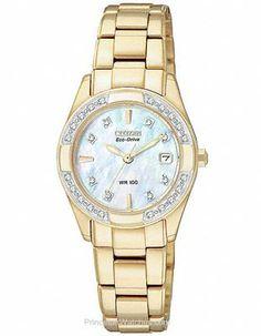 37ca977912c Citizen Ladies Eco-Drive Regent 100M WR - 28 Diamonds - MOP Dial - Gold-Tone