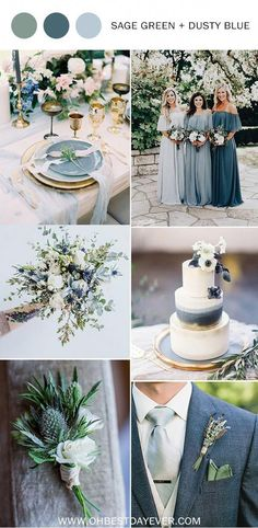 sage green and dusty blue wedding color ideas