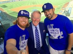 Justin Turner, Vin Scully & Adrian Gonzales 9-23-16