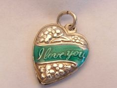 Vintage Sterling Silver Enamel I Love You Floral Puffy Heart Charm