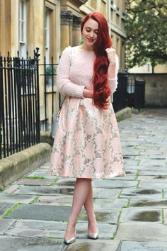 pastel top with pink floral skirt