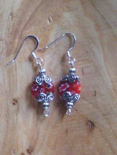 Red Flowered Glass Bead Earring by PixieMoonCreations on Etsy, $12.00