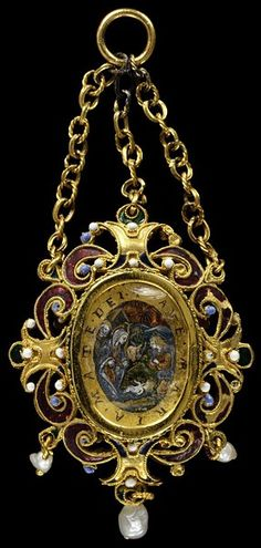Enamelled gold pendant set with paintings in verre eglomisé of the Annunciation and the Nativity, and hung with pearls. Sicily, Italy, 17th century
