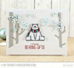 Polar Bear Pals Stamp Set and Die-namics, Sold Birch Trees Die-namics, Stylish Snowflakes Die-namics, Downhill Slope Die-namics - Joy Taylor  #mftstamps