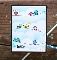 Sunny Studio Stamps: A Birds Life Barnyard Buddies Birds On A Wire Card by Vanessa Menhorn Handmade Birthday Cards, Greeting Cards Handmade, Birthday Card Drawing, Sunnies Studios, Bird Cards, Watercolor Cards, Easy Drawings, Bird Drawings, Cute Cards