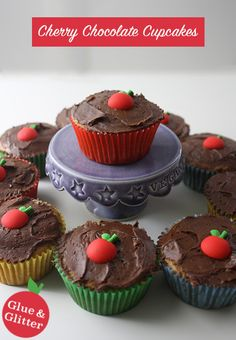 Cherry Chocolate Vegan Cupcakes Made Healthier with a Secret Ingredient!