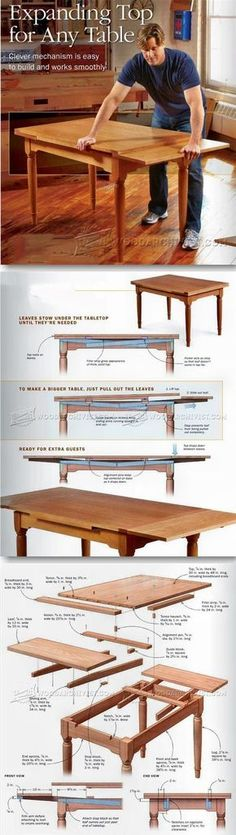 Expanding Table Plans - Furniture Plans and Projects | WoodArchivist.com