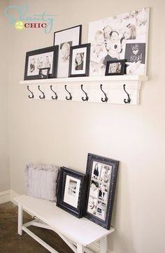 DIY Shelves and Do It Yourself Shelving Ideas - DIY Shelf With Hooks - Easy Step by Step Shelf Projects for Bedroom, Bathroom, Closet, Wall, Kitchen and Apartment. Floating Units, Rustic Pallet Looks and Simple Storage Plans #diy #diydecor #homeimprovement #shelves Diy Home Decor, Room Decor, Wall Decor, Casa Stark, Diy Coat Rack, Coat Hooks, Coat Hanger, Shanty 2 Chic, Home Projects