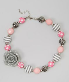 Take a look at this Pink & Gray Chunky Rose Necklace by Olivia Rae on #zulily today!