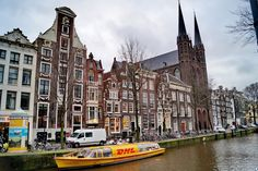 Singel (canal lined with cafs) - Amsterdam, The Netherlands