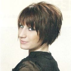 Short layered bob.  I might like this a little better if the bottom edge was evenly cut.