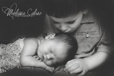 Melissa Calise Photography (Newborn Girl Photo Shoot Ideas Siblings Brother Sister Posing Kiss)