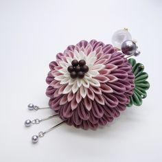 つまみ細工 コームかんざし「月蝶花」すみれいろ 和 髪飾り