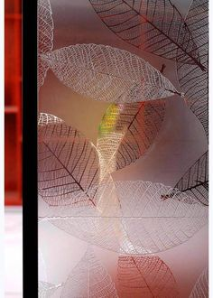 decorative partition wall ; decorative acid etched glass ; Wire Leaves