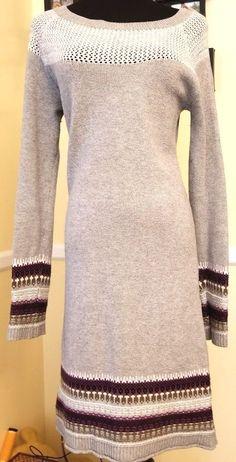 Athleta  Gray Knit Cashmere Blend Sweater Dress Fair Isle Nordic Women's XS  | eBay