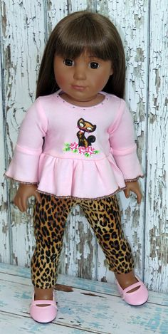 """Trendy 18"""" American Girl Doll Clothes from Silly Monkey - Pink Cat Top and Leopard Leggings, $15.99 (http://www.silly-monkey.com/products/pink-cat-top-and-leopard-leggings.html)"""