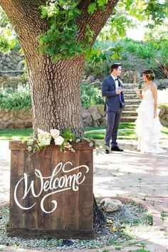 Romantic Ranch Outdoor Welcome Wedding Sign / http://www.himisspuff.com/rustic-wedding-signs-ideas/5/