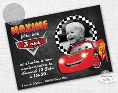"""☆☆ Invitation Anniversaire """"Cars"""" ☆☆ Création de cartons d'invitation d'anniversaire pour enfant, thème de Cars - Possibilité d'un envoi d'un PDF pour une impression par vous-même ou impression par nos soins avec prix dégressifs selon la quantité - Format : 10 x 14 cm. Plus de détails sur le site. #anniversaire #cars #invitation"""