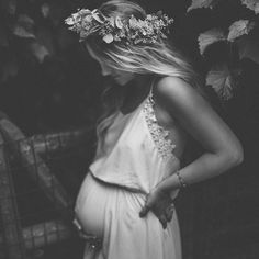 black and white maternity photo, flower crown