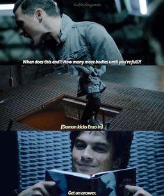 TVD season 8 sneak peek. Damon is reading Fifty Shades of Grey 😈