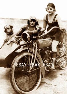 1920's Flapper Girls Indian Motorcycle Girl Women Lady Bulldog Beach Dog Photo | eBay