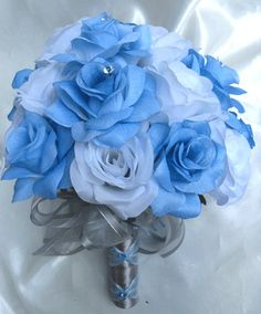 Wedding bouquet Bridal Silk flowers BLUE SILVER WHITE Bridesmaids boutonnieres Corsages 17 pc package. $179.00, via Etsy.