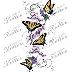 Marketplace Tattoo Live Laugh Love Butterflies #1108   CreateMyTattoo.com