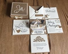 This article is not available Money gift / explosion box for the wedding with paper men (newlyweds) on driftwood I offer a beautiful explosion box in . Box Wedding Invitations, Wedding Boxes, Wedding Cards, Money Cards, Diy Cards, Gift Money, Card In A Box, Exploding Boxes, The Wedding Date