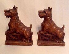Vintage Set Syroco Wood Scottie Scotty Dog Scottish Terrier Bookends