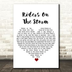 The Doors Riders On The Storm White Heart Song Lyric Art Print