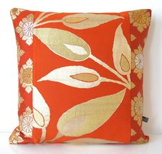Cushion Pillow in Limited Edition Orange & Metallic Gold Leaf made from Vintage Japanese Obi Silk NEW A/W15 45x45cm by BeccaCadburyDesign on Etsy