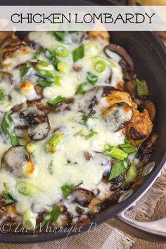 Chicken Lombardy | http://bakeatmidnite.com | #chicken #mushrooms #marsala #copycat…