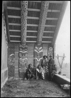 group on the porch of Te Whai-a-te-Motu wharenui,Ruatahuna.(1903)